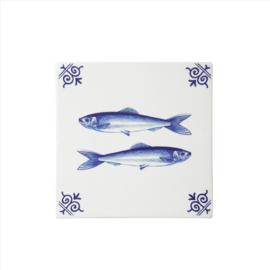 Delfts blauwe Tegel - Haring - 13 x 13 cm