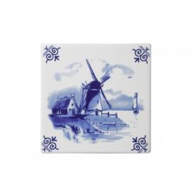Delfts blauwe Tegel - Molen - 13 x 13 cm