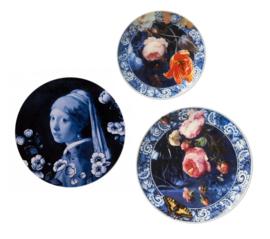 Wandborden Delfts blauw - Meisje met de Parel - 'Gouden Eeuw' - set van 3