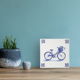 Delfts blauwe Tegel - Fiets - 13 x 13 cm