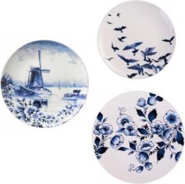Wandborden Delfts blauw Molen - Set van 3