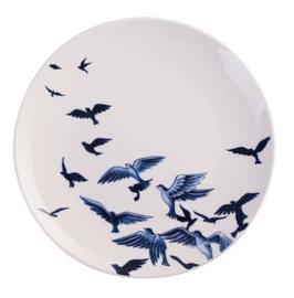 Wandbord Delfts blauw vogels