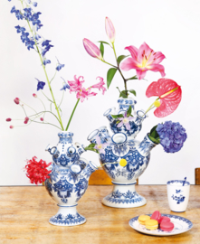 Tulpenvaas Delfts blauw &klevering - medium