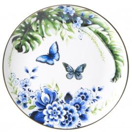 Wandbordje Vlinders Delfts blauwe bloesem - Ø 20 cm