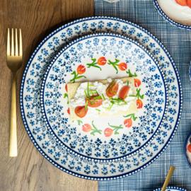 Ontbijtbord - Delfts blauw - tulp - Ø 19,5 cm