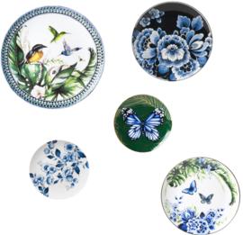 Wandborden Blauwe Vlinders en Kolibrie - Set van 5