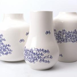 Delfts blauwe vaas met fiets - 21 cm