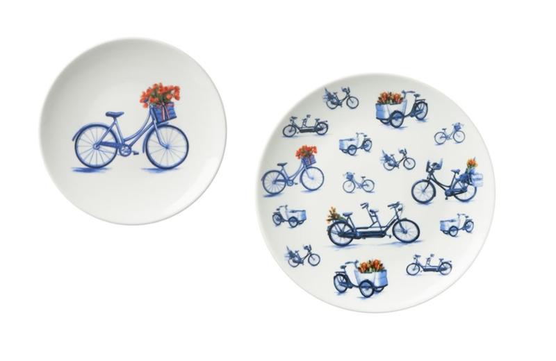 Wandborden Delfts blauw - Set van 2 - Fiets