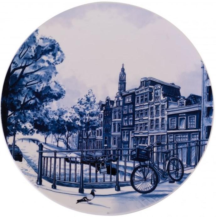 Wandbord Delfts Blauw Grachtenhuis - Ø 26,5 cm