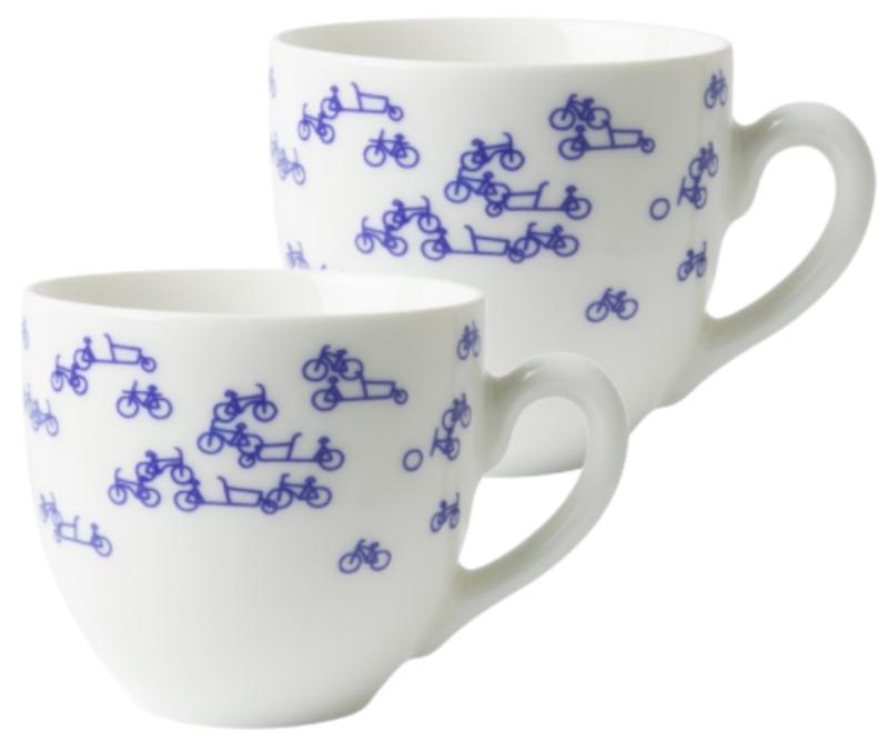 Koffiemokken fiets - Set van 2