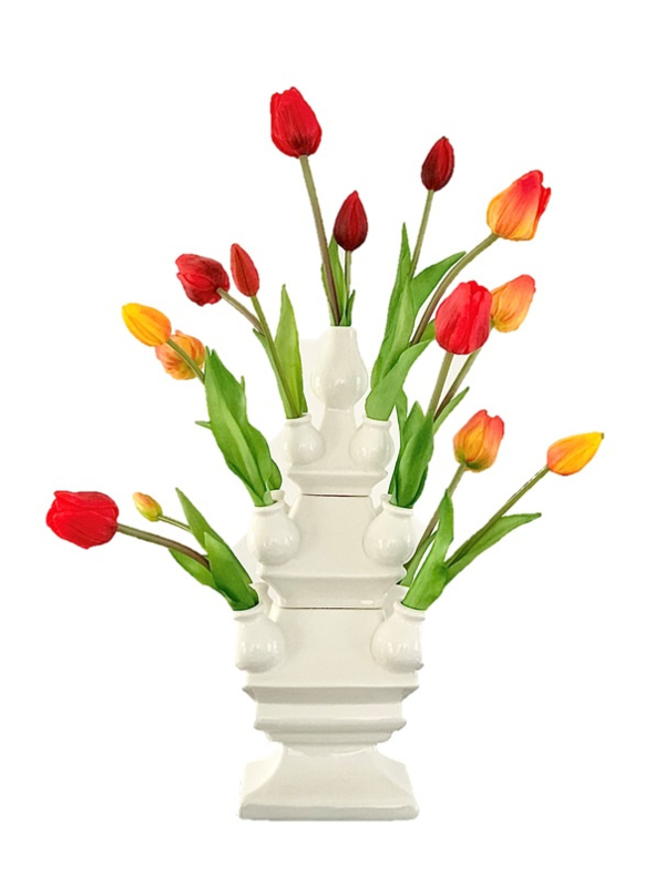 Tulpenvaas Wit mét Tulpen   Kunstbloemen