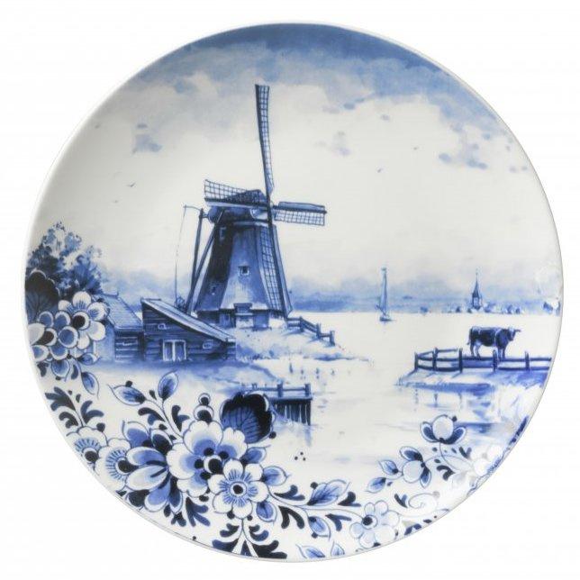 Wandbord Delfts Blauw 'Nederlands landschap met molen' - Ø 20 cm
