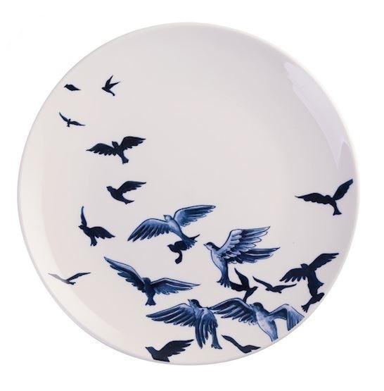 Wandbord Delfts blauw vogels - Ø 20 cm