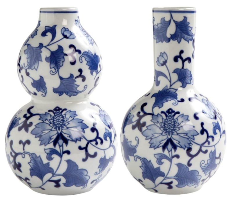 Keramiek vazen - Delfts blauw - set van 2 - 20 cm