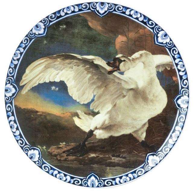 Wandbord 'Gouden Eeuw' Zwaan - Ø 31,5 cm