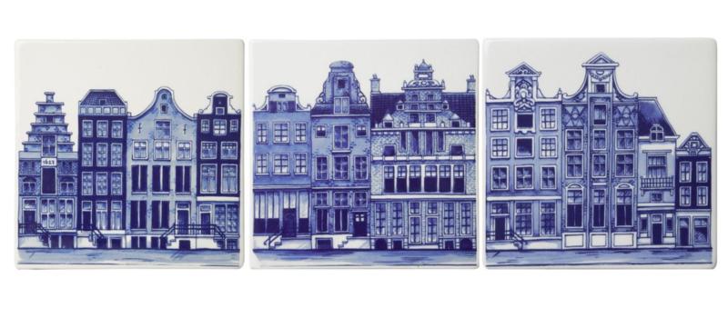 Delfts blauwe Tegel Grachtenpanden - Set van 3