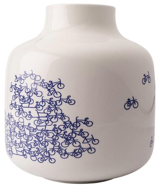 Delfts blauwe vaas met fiets - type 3 - 21 cm
