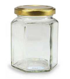 Glazen pot met gouden twist off deksel.