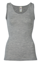 Engel Ladies´ sleeveless shirt  fine rib wool silk light grey mélange