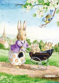 Molly Brett kaart Mother rabbit pushing pram