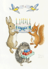 Molly Brett 'Rabbit and squirrel holding birthday cake'