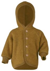 Engel wol fleece jasje met capuchon en houten knopen oker geel