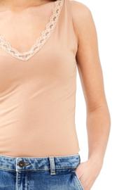 BY BAR  lace singlet viscose - nude