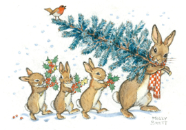 Molly Brett kaart 'A rabbit Carrying a Christmas Tree'