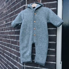 Engel hooded overall with wooden buttons light grey