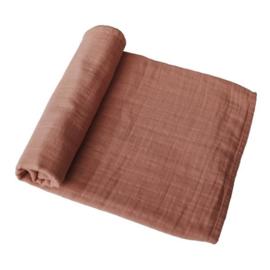 Mushie Muslin Swaddle Blanket Organic Cotton (Tawny Birch)