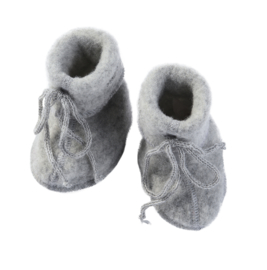 Engel baby-bootees wool fleece light grey mélange