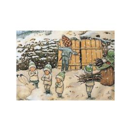 Elsa Beskow kaart Santa Kinderen Winter