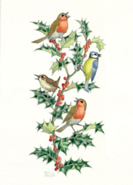 Molly Brett kaart 'Birds and Holly'