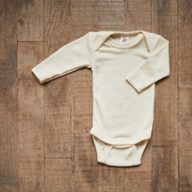 Engel romper Baby-body long sleeved, fine rib natural