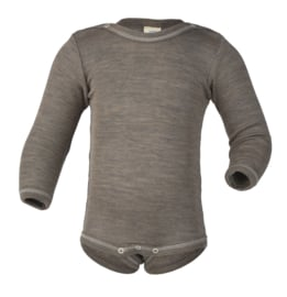 Engel romper Baby-body long sleeved, with press-studs on the shoulders, fine rib walnut