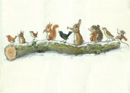 Molly Brett kaart 'Winter Woodland animal orchestra'