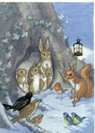Molly Brett kaart 'A family of rabbits and other woodland creatures'