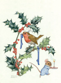 Molly Brett kaart 'Christmas robin and mouse'