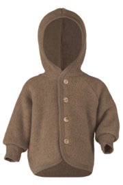 Engel hooded jacket with wooden buttons wool fleece walnuss melange