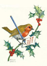 Molly Brett kaart 'Robin writing Christmas message'