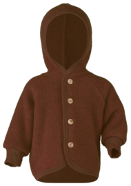 Engel Hooded jacket with wooden buttons, fleece cinnamon