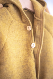 Engel hooded jacket with wooden buttons wool fleece safran melange