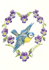 Molly Brett kaart blue tit and violas