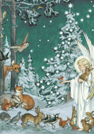 Molly Brett kaart 'Woodland Creatures Gather Around an Angel'