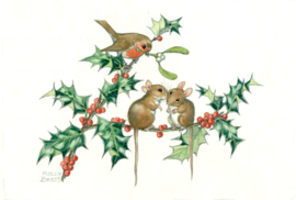Molly Brett kaart 'Christmas kissing mice'