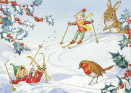 Molly Brett kaart 'Two pixies skiing with robin and rabbit looking on'