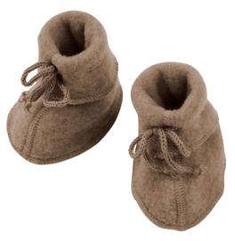 Engel baby-bootees wool fleece walnuss melange