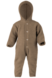 Engel hooded overall with wooden buttons walnuss melange