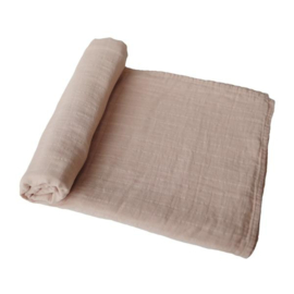 Mushie Muslin Swaddle Blanket Organic Cotton (Pale Taupe)