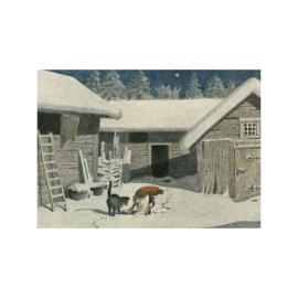 Elsa Beskow kaart De Kerstman voedt de Kat